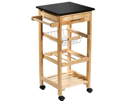 rubberwood kitchen trolley island black granite worktop