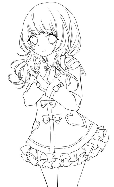 cute anime girl lineart by chifuyu san on deviantart