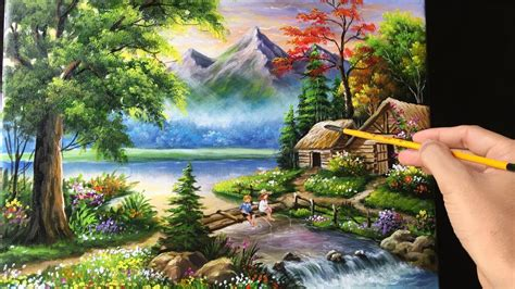 mountain landscape paintings painting a beautiful mountain landscape with acrylics