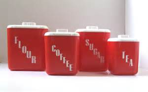 red kitchen canisters kitchen canister set vintage red kitchen by thevintageresource