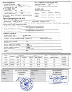 Wps Template by Pin Aws Welding Procedure Specification Template Image