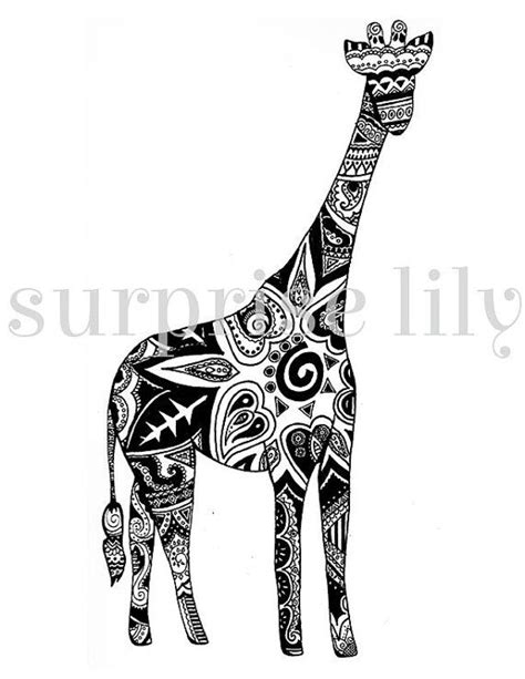 henna tattoo giraffe giraffe floral coloring page book digital printable for