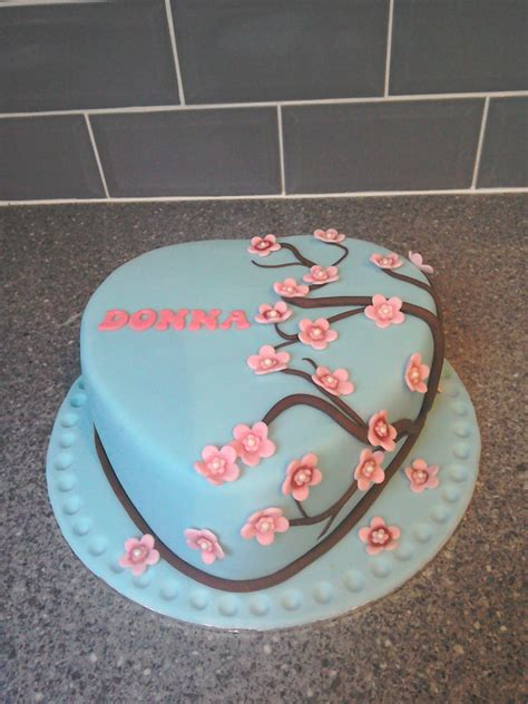 Decorating A Shaped Cake by Shaped Japanese Cherry Blossom Birthday Cake