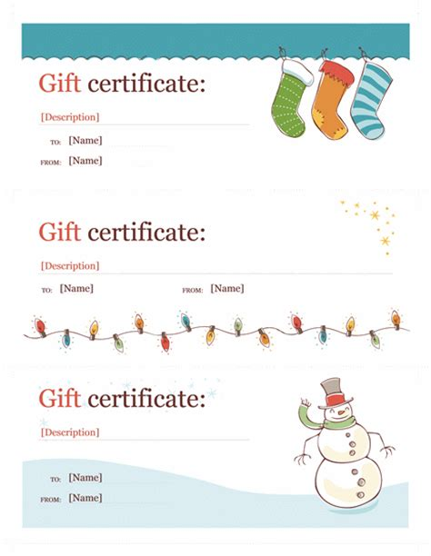 templates gift certificates christmas holiday gift certificate template word christmas free