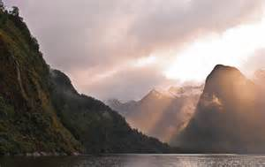 Beautiful Light Hall Arm Doubtful Sound Fiordland New Zealand New