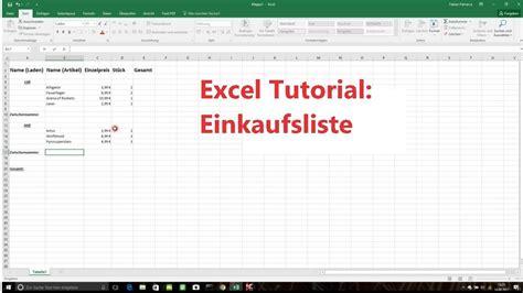 excel online tutorial youtube excel tutorial einkaufsliste erstellen youtube