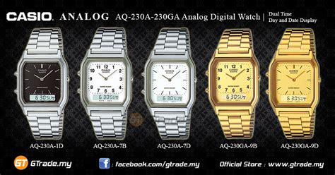 Jam Casio Original Aq 230a 1d casio analog digital aq 230a 1d square design dual