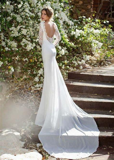 hochzeitskleid israelische designerin r 252 ckenfreies romantisches hochzeitskleid mit langen 196 rmeln