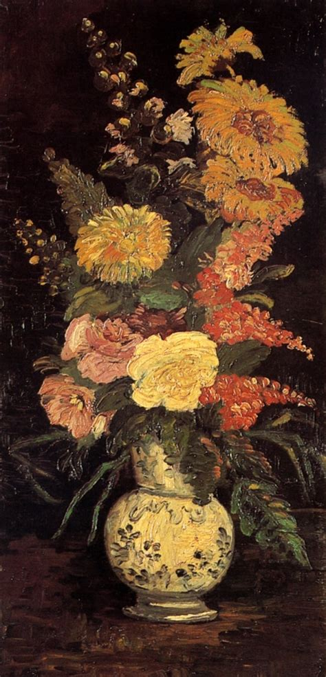 Gogh Vase Of Flowers by Vase With Asters Salvia And Other Flowers Vincent