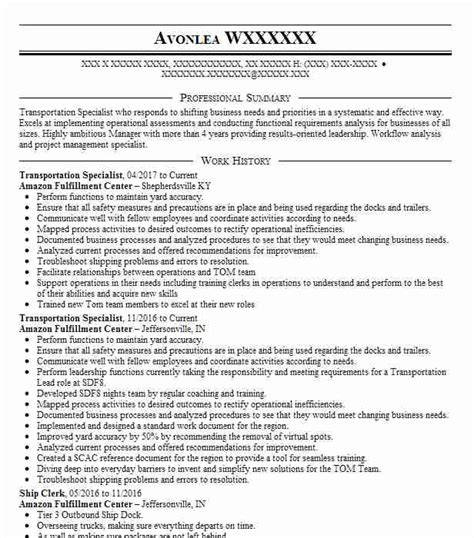 transportation specialist resume sample livecareer