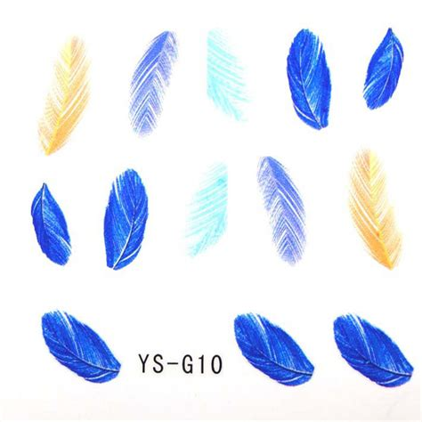 Feather Nail Sticker mixed designs nail decals peacock feather nail