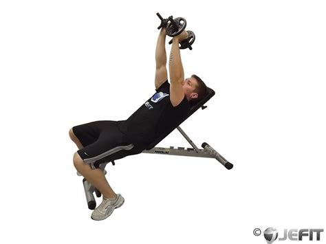 triceps on bench dumbbell incline triceps extension exercise database