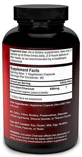 Charcoal Detox Pills by Organic Activated Charcoal Capsules 600mg Coconut