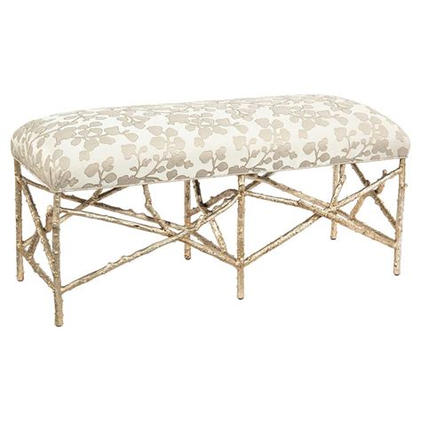 floral bench airlie modern silver branch chagne floral print bench