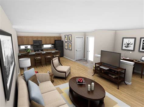 bedroom and living room in one space interior perspective living room 1br net zero village