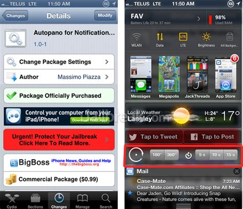 notification center themes cydia take panoramic photos or videos using vibration with