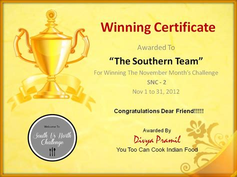 winners certificate template my healthy happy kitchen award time