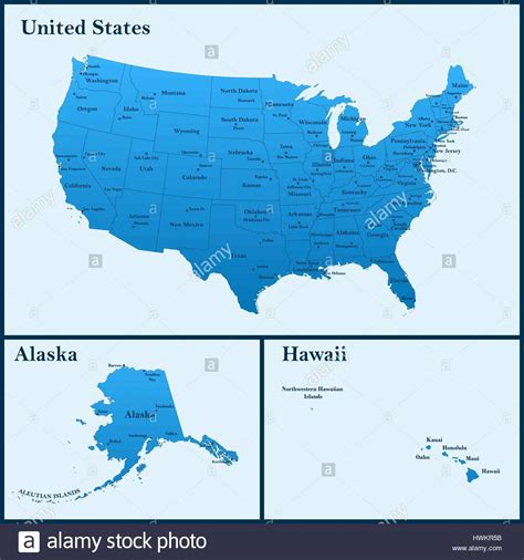 detailed map   usa including alaska  hawaii  united stock vector art