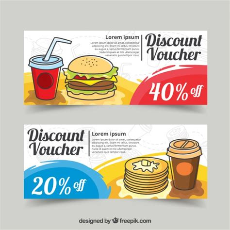 food discount vouchers design vector free download