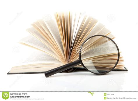 Novel Glass open book with magnifying glass stock image image of book school 16227859