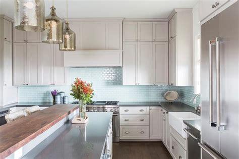 light grey glass backsplash light gray kitchen cabinets with aqua mini glass tile