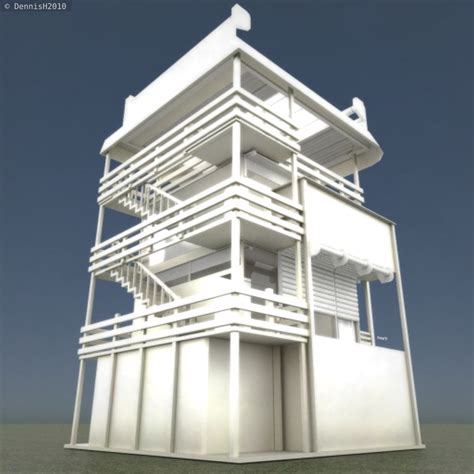 house tower design tower house design blender game engine free vr ar low poly 3d model animated