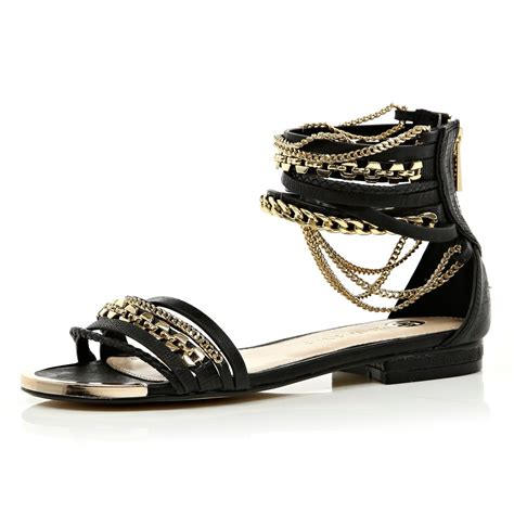 river island sandals river island black multistrap chain sandals in metallic lyst