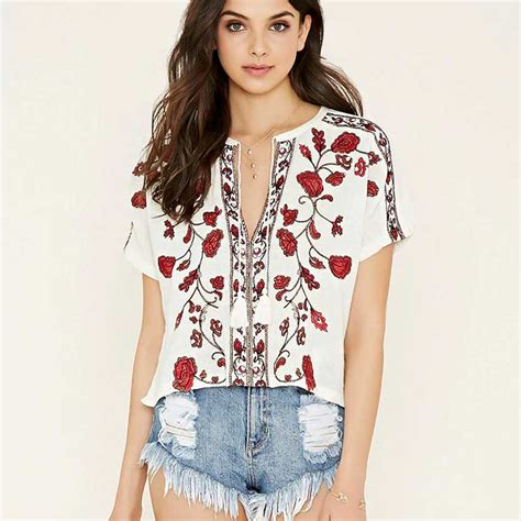 blouse floral embroidered peasant top shirts fashion