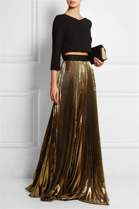 Gold Maxy faith connexion pleated lam 233 maxi skirt editors notes