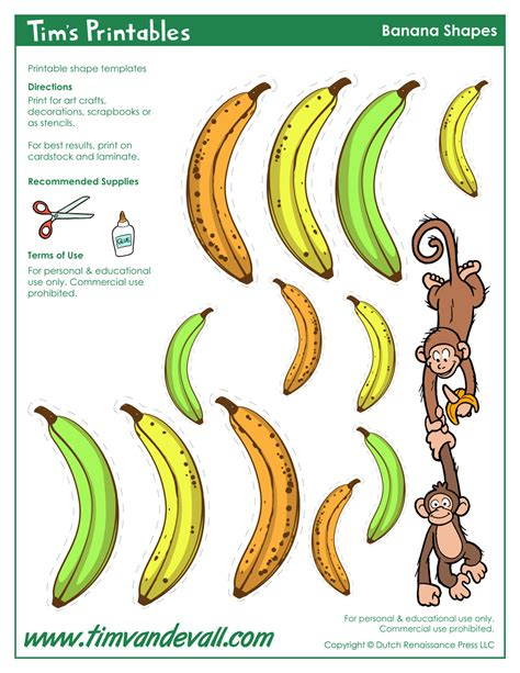printable banana shapes banana templates