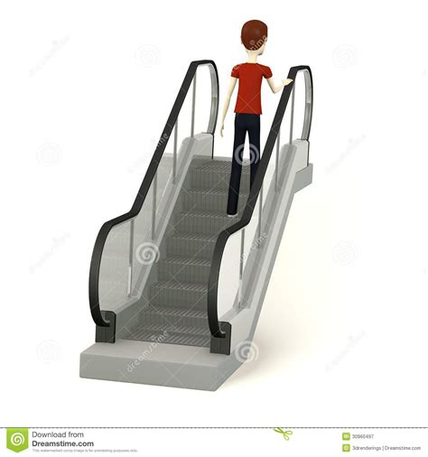 Floor Plans With Stairs by Cartoon Man On Escalator Royalty Free Stock Photography