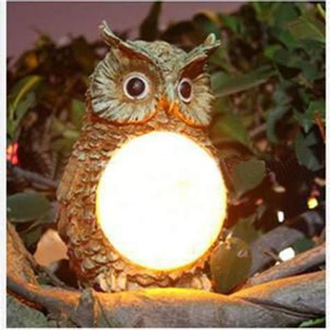 Solar Powered Owl Led Light Outdoor Garden Decor Statue Owl Solar Lights