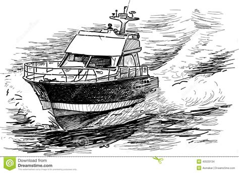 motor boat drawing fast motorboat stock photo image 40533134