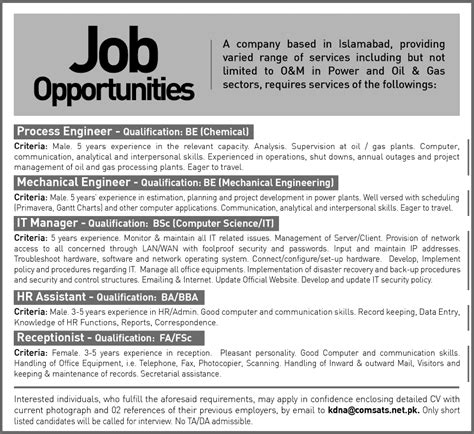 Mechanical Engineering Manager by Process Mechanical Engineers It Manager Hr Assistant Receptionist In Islamabad 2013