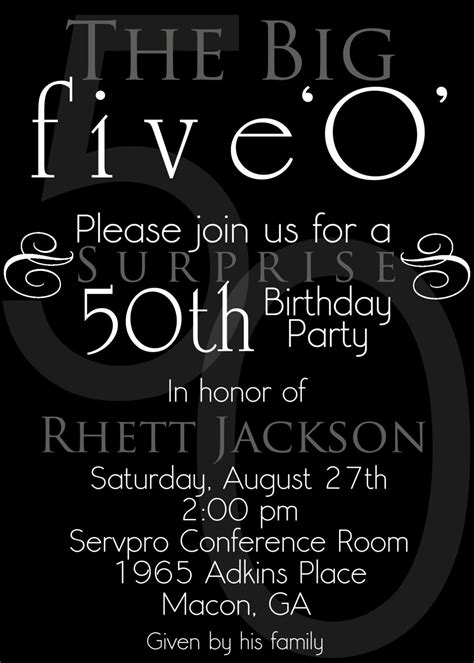 free templates for awesome 50th birthday cards the 50th birthday invitation template free templates