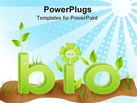 biology powerpoint template bio text word with grass flowers and leafes in green