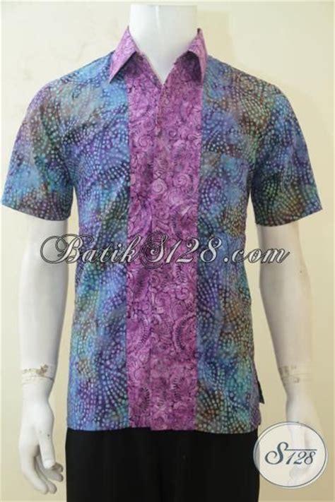 kemeja baju batik cap smoke warna gradasi kombinasi ungu