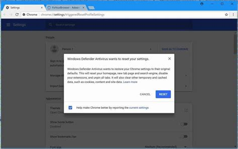 resetting windows defender windows defender antivirus wants to reset your settings