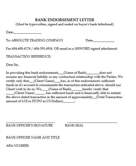 Bank Endorsement Letter Rarejob 16 endorsement letters sles templates pdf doc