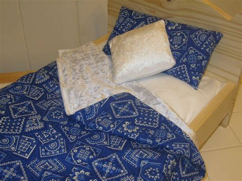 18 doll bedding 4 piece blue bandana bedding for 18