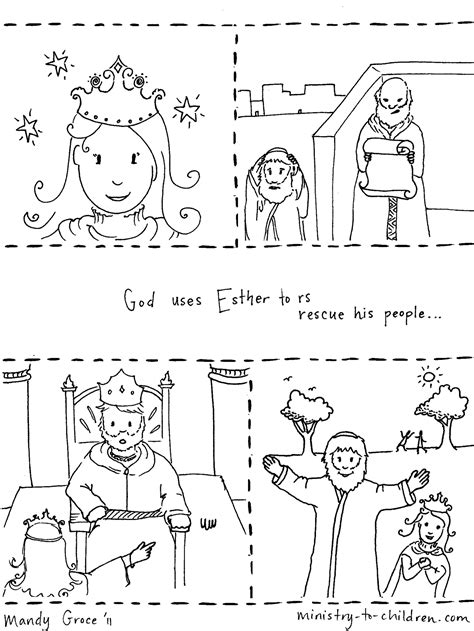 Free Coloring Pages Of Bible Stories Esther Story Coloring Page
