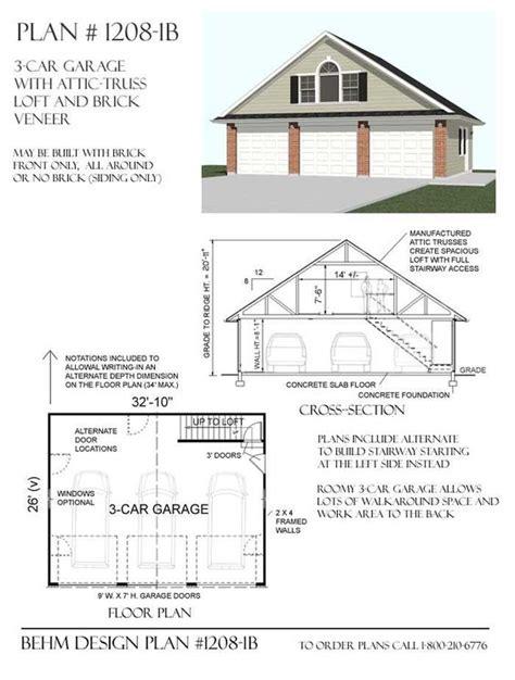 workshop plans with loft 3 car garage plans with loft 1208 1b garage ideas
