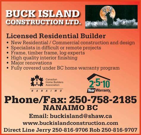 design expert licence buck island construction ltd opening hours 2521