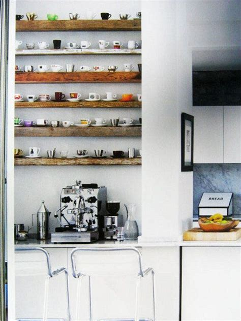 kitchen combo white walls wood open shelving