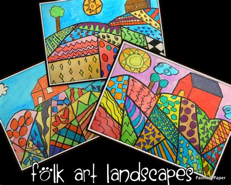 pattern art lesson plan painted paper folk art landscapes