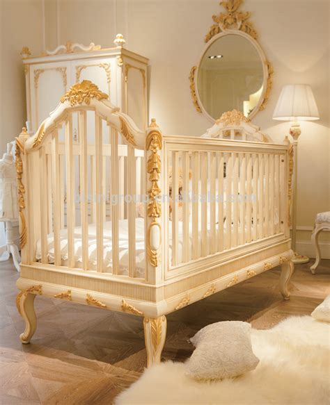 luxury wooden baby crib royal golden hand carving new born