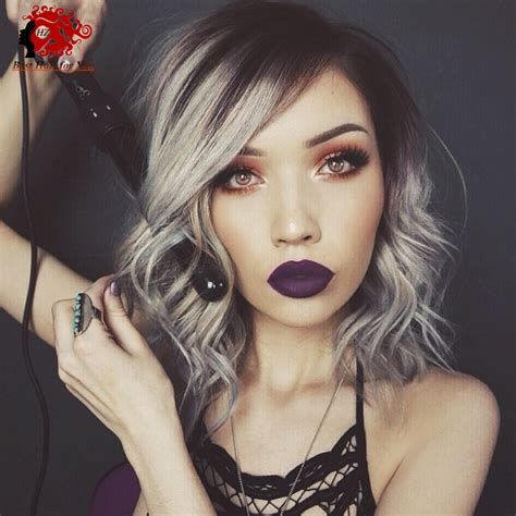 hair color grey in front fashion 2016 side part omber grey human hair full lace