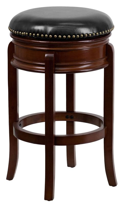 Black Nailhead Bar Stools by 29 Quot Backless Cherry Nailhead Trimmed Black Leather Swivel