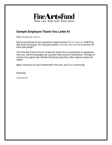 Thank You Letter Template To Employee Employment Thank You Letter Vertola