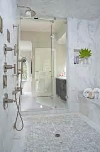 Marble basketweave shower floor design ideas